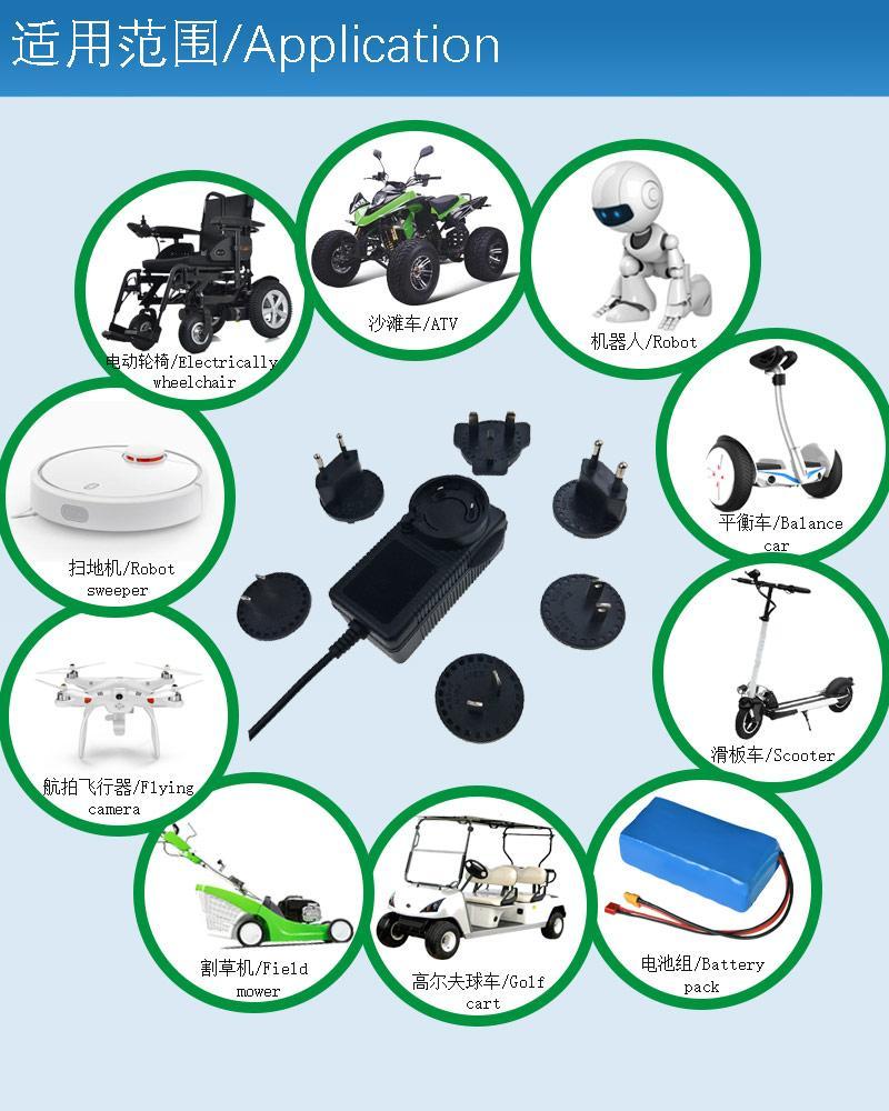 12.6V2A锂电池充电器 转换插头充电器 多插头充电器 14