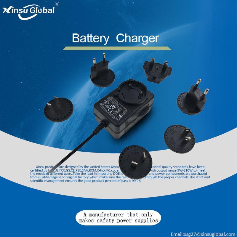 12.6V2A锂电池充电器 转换插头充电器 多插头充电器 3