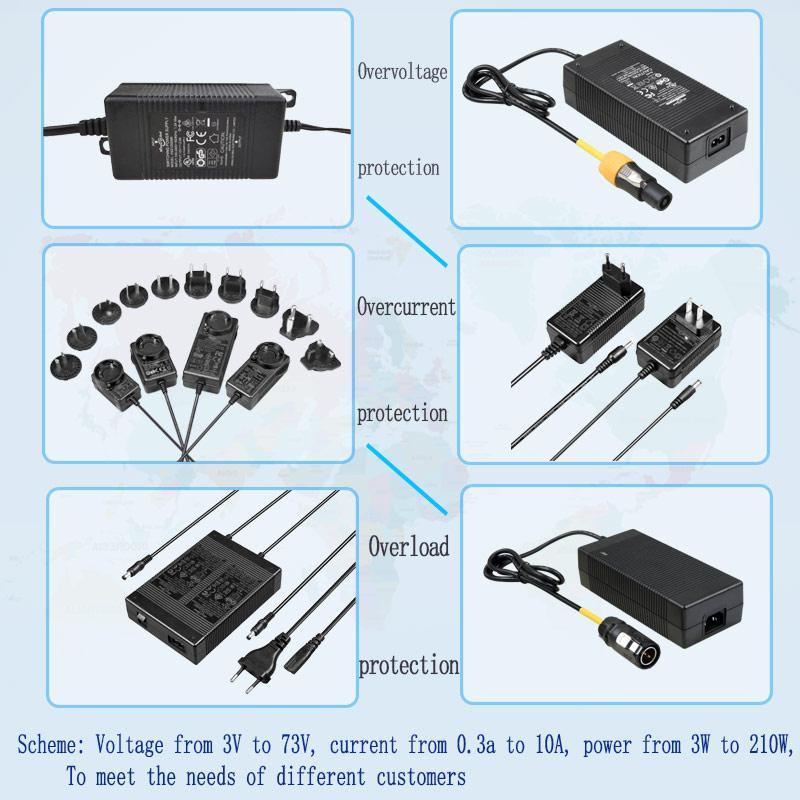 12.6V2A锂电池充电器 转换插头充电器 多插头充电器 4