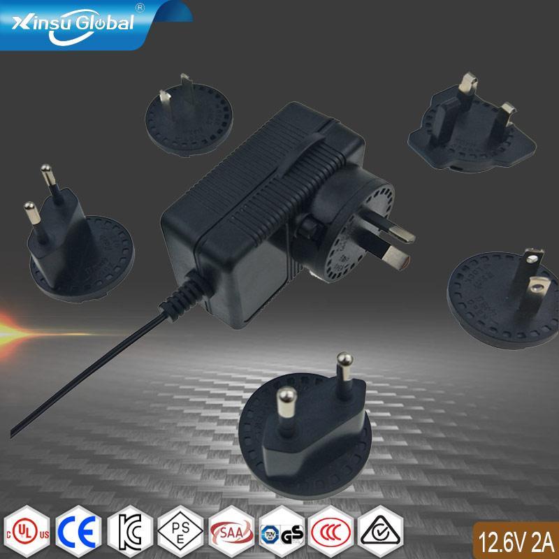 12.6V2A锂电池充电器 转换插头充电器 多插头充电器 1