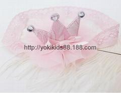 0~2岁宝宝女童蕾丝皇冠发带