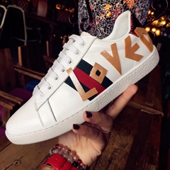 Wholesale Gucci White Shoe Top Quality Real Cowhide Leather Gucci Sneaker Outle