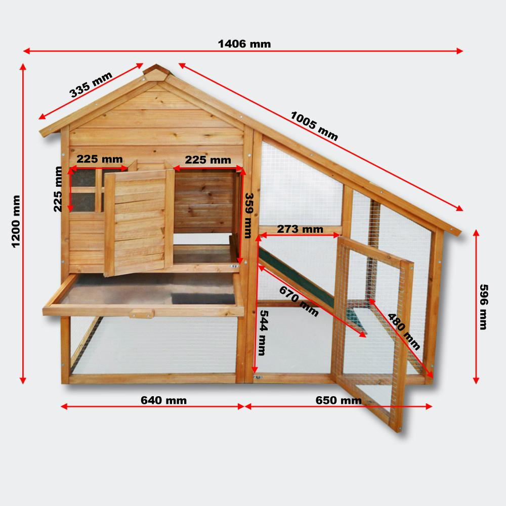 Wooden Rodent house Bunny hutch Hen coop Pet house Free run Enclosure 3