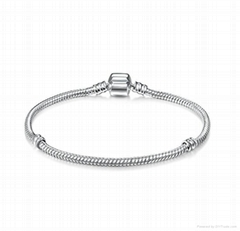 925 Sterling Silver Clasp Snake Chain Charm Bracelet 13-28 cm