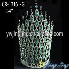 "14"" Green Rhinestone Tiaras India Wedding Crowns"