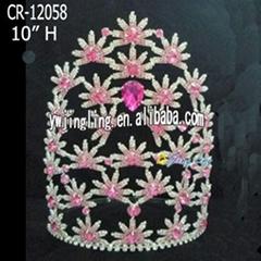 Pink Rhinestone Flower Tiara Princess Bridal Headpiece