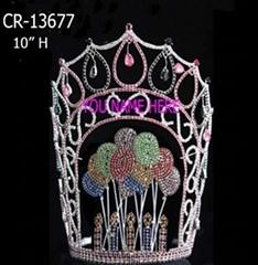 Rhinestone Valentine's Balloon Pageant Crowns