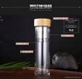 2017热销产品500ml高硼硅双层玻璃杯带过滤器 2