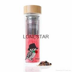 促销礼品500ml高硼硅玻璃水瓶带茶过滤器