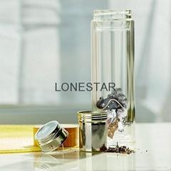 热销500ml透明高硼硅双层玻璃杯带茶叶过滤器