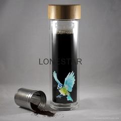 最畅销的产品500ml高硼硅双层玻璃杯带硅胶套