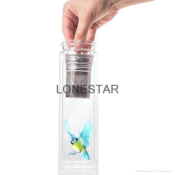 最畅销的产品500ml高硼硅双层玻璃杯带硅胶套 3