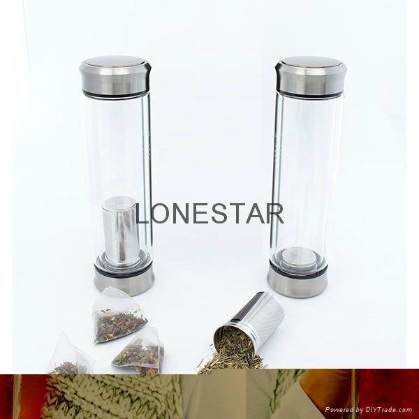 产销产品0.5升过滤器双层玻璃茶杯 1