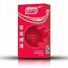High quality strawberry favor natural latex ultra thin condom