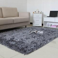 Hand Made 100% Polyester Shaggy Flexible Yarn Mixed Silk Carpet