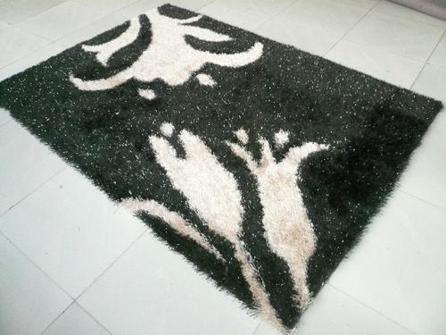 Hand Made 100% Polyester Shaggy Flexible Yarn Mixed Silk Carpet  5
