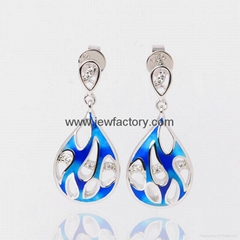 Jewelry OEM ODM Enamel Earrings Blue Gradient 925 Sterling Silver Jewelry