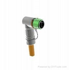 新能源高压连接器单芯弯头8mm金属推拉式插头