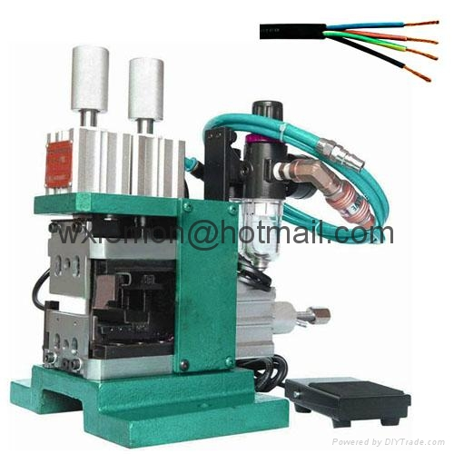 Pneumatic multi core wire peeling and twisting machine