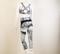 Wholesale Black and white stripes yoga sets yoga fitness sets 2