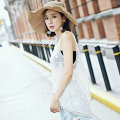Lace embroidery blouse wild sleeveless lace shirt summer burst wild lace compute