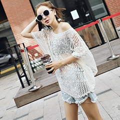 Lace Trousers Fall New Loose Lace Beach Blouse Fall Lace Embroidery Wide Sleeve