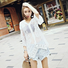 Sextile Sleeve Lace Perspective Blouse Lace Embroidered Tops Women 's Fall Lace
