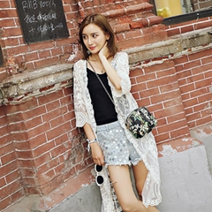 Long paragraph lace blouse beach lace sunscreen seven points sleeves lace wild l