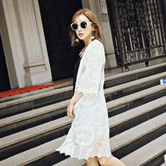 Embroidery long coat lace silk embroidered blouse seven sleeves beach sunscreen