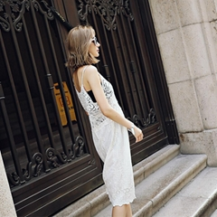 Lace Hollow Sling Dress Hollow Lace Sling Summer Dress Lace Holder Embroidered D