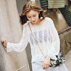 Lace Blouse Long Sleeve Lace Wild Perspective Fall Watercolor Lace Wild Lady Top