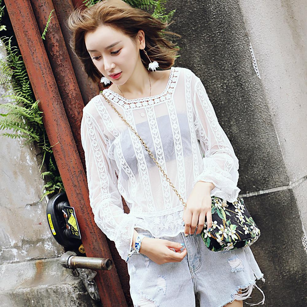 Lace Blouse Long Sleeve Lace Wild Perspective Fall Watercolor Lace Wild Lady Top 2