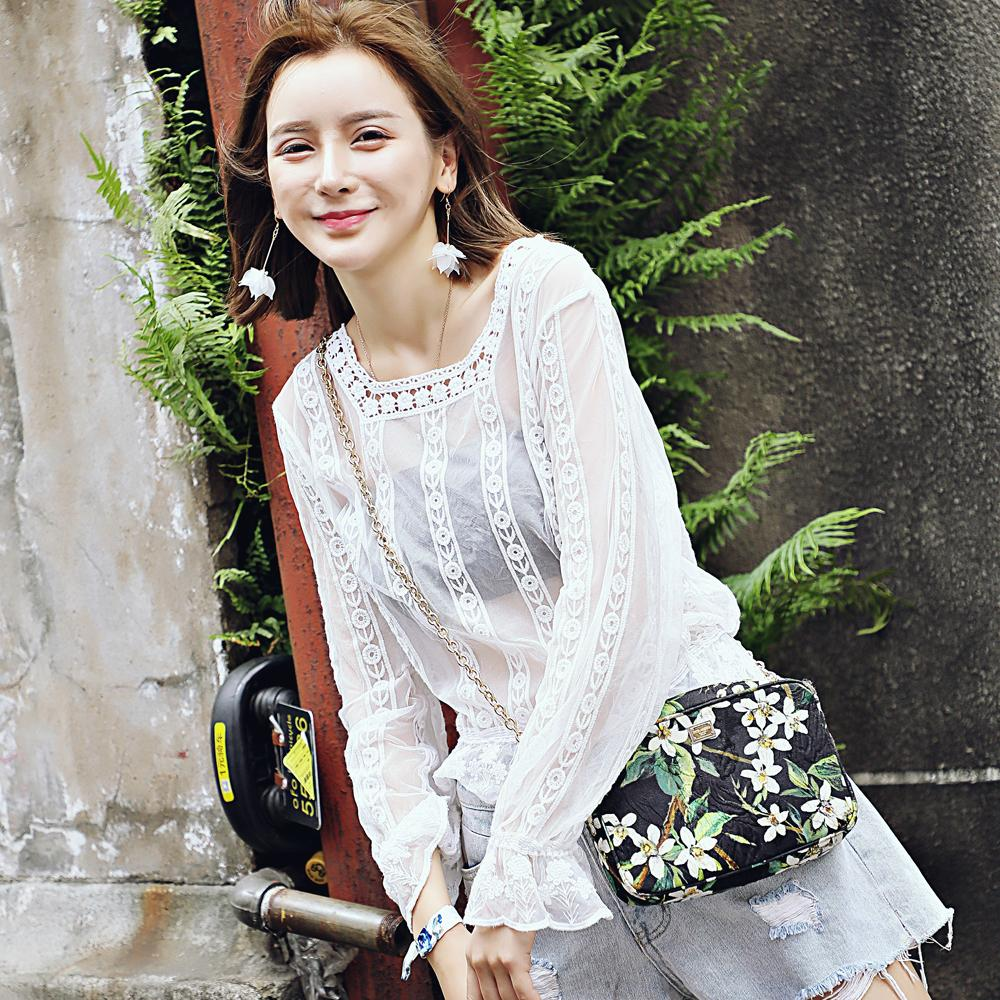 Lace Blouse Long Sleeve Lace Wild Perspective Fall Watercolor Lace Wild Lady Top 3