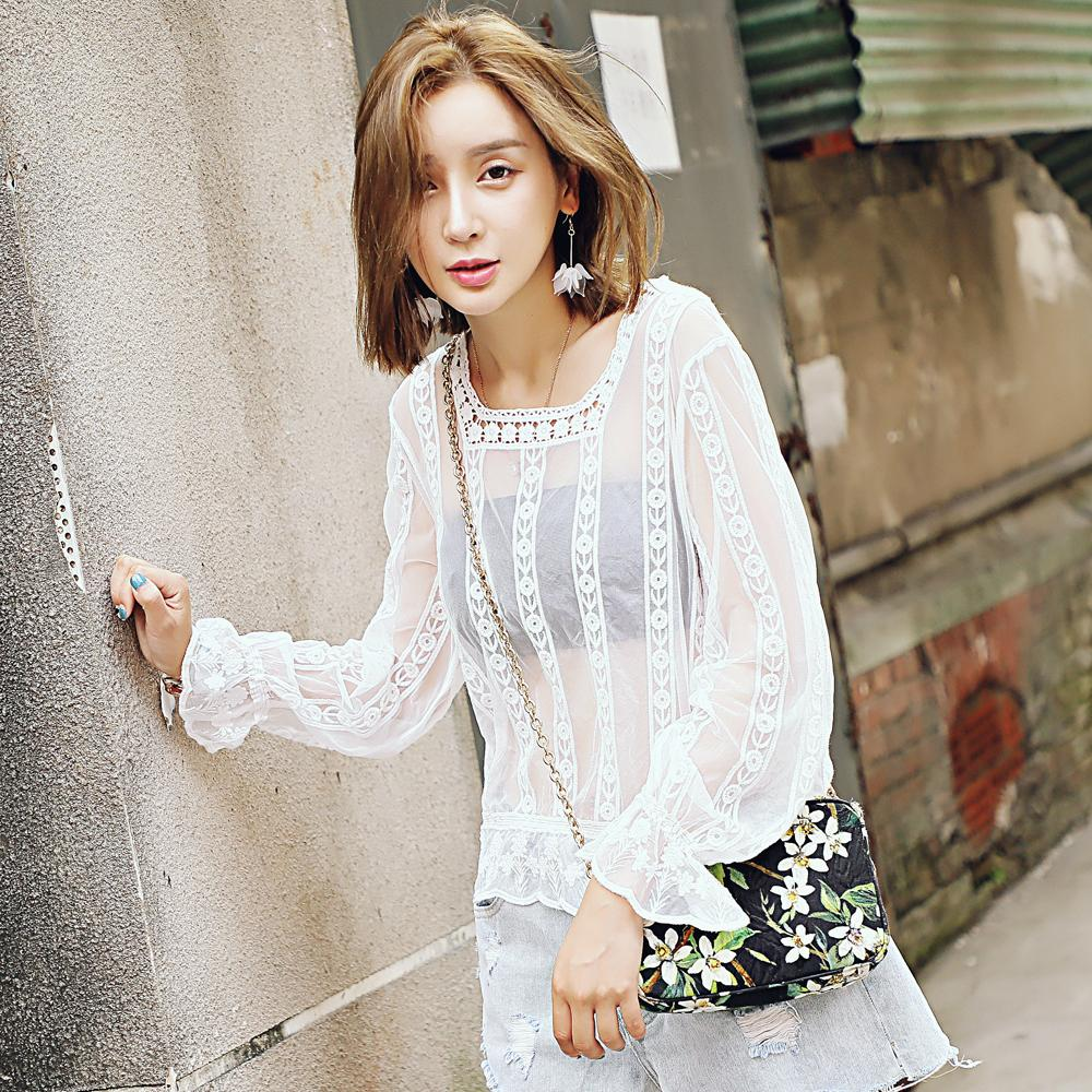 Lace Blouse Long Sleeve Lace Wild Perspective Fall Watercolor Lace Wild Lady Top 5