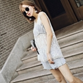 Lace embroidery blouse sleeveless net