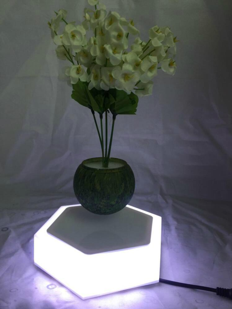 led light  magnetic flying levitation floating air bonsai pots with led light 2