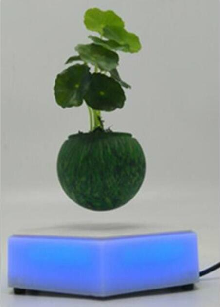 led light  magnetic flying levitation floating air bonsai pots with led light 1