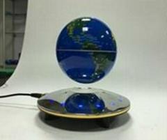 6 inch electroslivering ufo base magnetic levitation globe with map