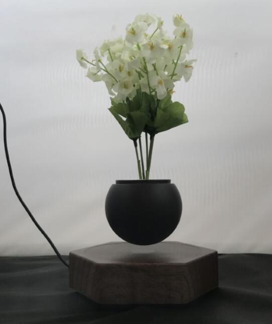 rotating hexagon magnetic floating levitation  air bonsai pot planter for gift  3