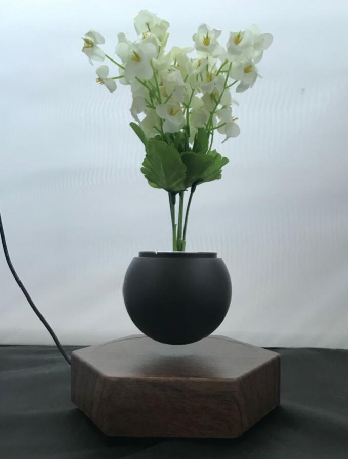 rotating hexagon magnetic floating levitation  air bonsai pot planter for gift  5