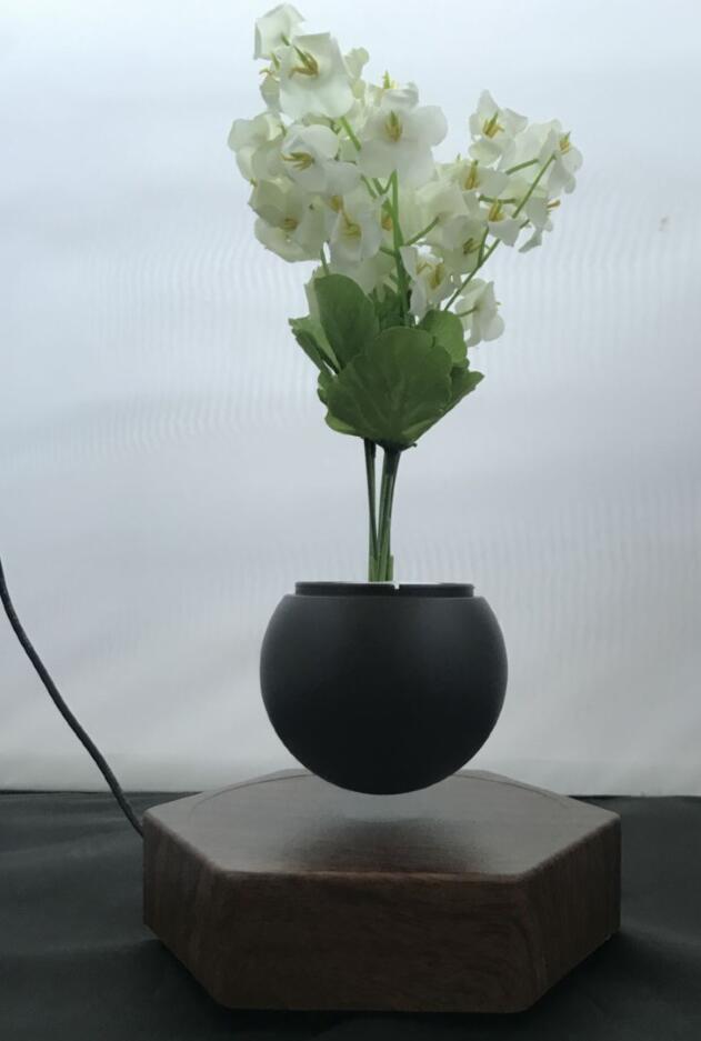 rotating hexagon magnetic floating levitation  air bonsai pot planter for gift  6