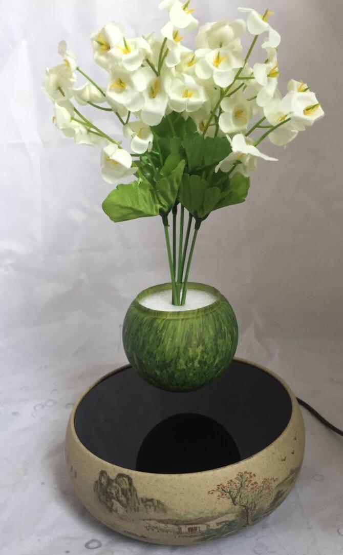 360 rotating ceramic magnetic floating levitate air bonsai pot  5