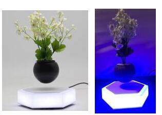 led light hexagon magnetic floating levitating air bonsai pot gift  1