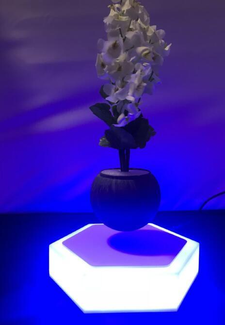 led light hexagon magnetic floating levitating air bonsai pot gift  3