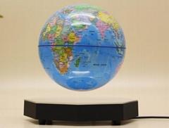 hexagon magnetic floating rotating levitate flying globe 7inch