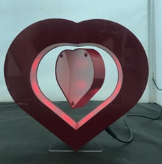 heart shape magnetic floating levitate pop photo frame display racks