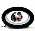 oval shape led light inside magnetic floating photo frame display stand decor