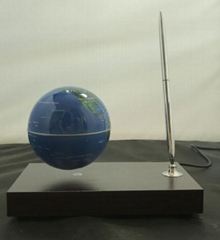 Rectangle red wooden base christmas gift magnetic levitating globe with a pen