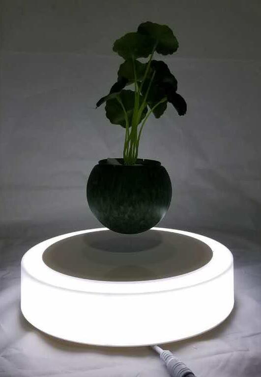 new spining magnetic floating levitate flying plant tree pot  2