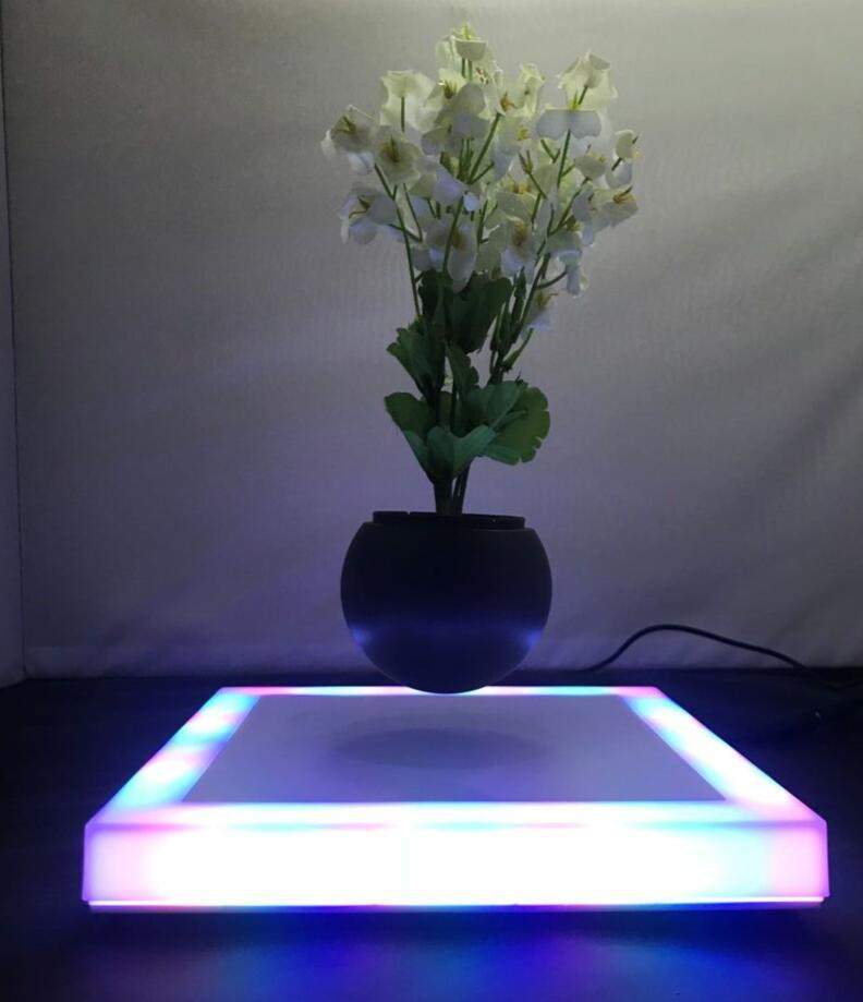 square base led light magnetic floating levitate plant potted  1